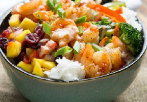 Chinese rice with shrimp and vegetables